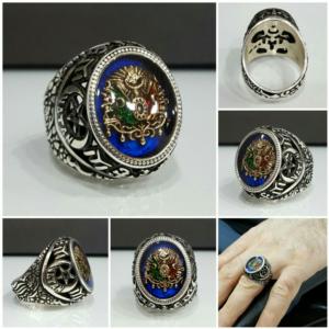 Vatan Yazılı Osmanlı Arması Mineli Gümüş Erkek Yüzük ALKY13