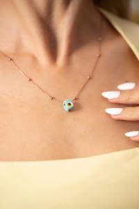 Toplu Model Mavi Nazarlık Rose Kaplama Gümüş Kolye