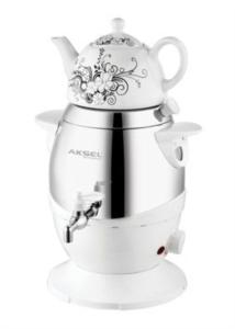 Aksel Teasam Porselen Demlikli Elektrikli Semaver AK0391 4,5 lt Beyaz