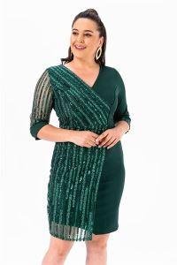 Kol Pul Payet Büyük Beden Elbise Yeşil