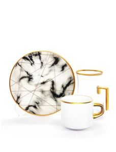 Damla Kulplu Asena Çay Kahve Seti 6+6 White Marble