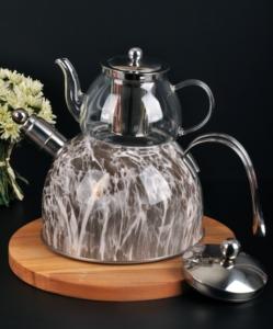 Bayev Mermer Düdüklü Cam Çaydanlık- 200602- Gri