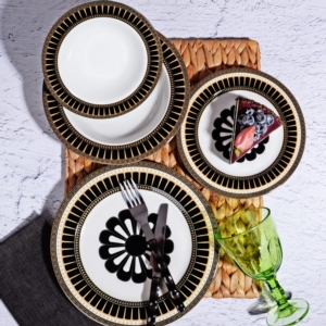 Kosova 24 Parça Porselen Yemek Takımı POR-259 24 SİYAH