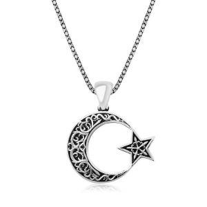 Gümüş Desenli Ay Yıldız Erkek Kolye