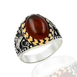 Osmanlı Tuğra Desenli Taşlı Gümüş Yüzük EY299