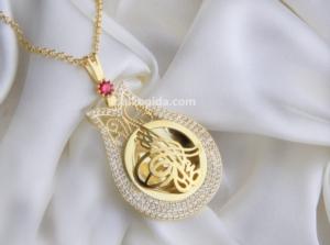 Gümüş İşlemeli Lale Tuğralı Plaka Kolye PLK06-GOLD