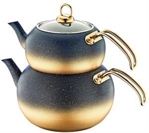 Oms Orta Boy İndüksiyonlu Granit Küre Çaydanlık Takımı 8210