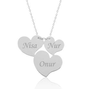Gümüş Üç Kalp İsimli Bayan Kolye