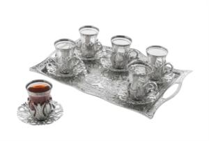 Sena Hanedan Dikdörtgen 6'lı Çay Seti 124-K 11
