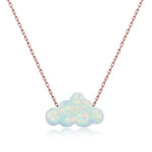 Gümüş Beyaz Opal Taş Bulut Bayan Kolye