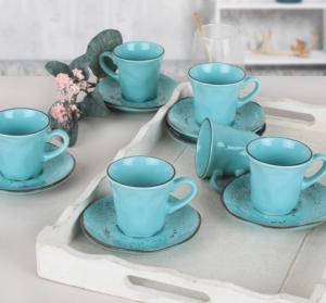Keramika Splash Blue Kahve Takımı 12 Parça 6 Kişilik - 18993