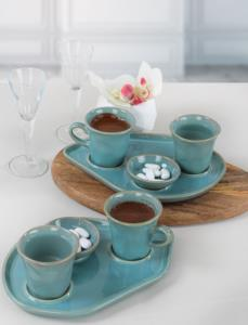 Keramika Moka İkram Seti Reaktif Turkuaz 8 Parça 2 Kişilik