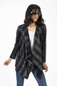 Saygı Şal Yaka Dalgalı Desenli Kolkatlamalı Siyah Ceket