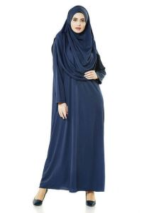 Tek Parça Namaz Elbisesi - Lacivert - 5015  ve  Seccade  ve  Zikirmatik - Üçlü Takım