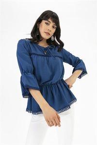Büzgülü İspanyol Kol Krep Bluz Mavi