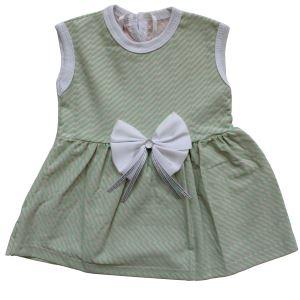 Yeşil Çizgili Beyaz Kurdelalı Kız Bebek Elbise