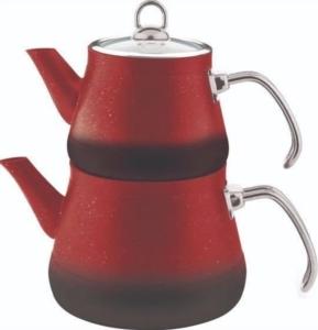 Remetta Granit Metal Kulp Çaydanlık Takımı - Kırmızı