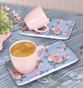 Keramika 4 Parça Mat  Çiçek Bahçesi ikramlık Kahve Seti-18238