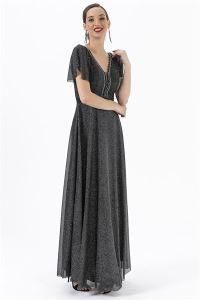 Göğsü Taşlı Simli Astarlı Abiye Elbise Siyah