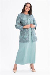 Önü Taşlı Dantelli Büyük Beden Elbise Ceket Takım Mint