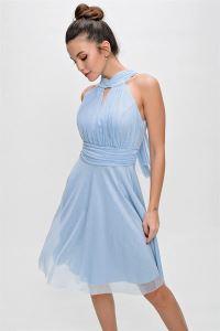 Yaka Bağlamalı Simli Abiye Elbise Bebe Mavi