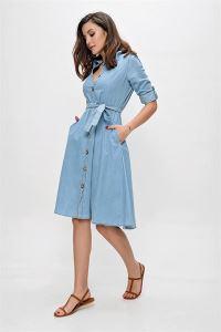 Düğmeli Kot Elbise Mavi