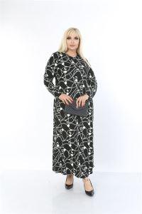 Zincir Desenli Zımparalı Süet Büyük Beden Uzun Elbise Siyah