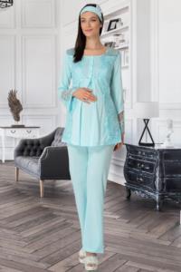 Mecit Turkuaz Sabahlıklı Lohusa Pijama Takımı
