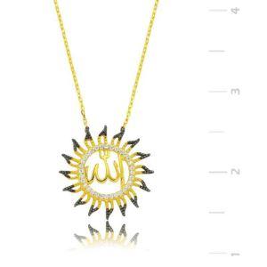 Gümüş Allah Yazılı Güneş Bayan Kolye