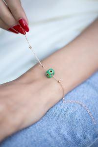 Yeşil Nazarlık Model Rose Kaplama Toplu Zincir Gümüş Bileklik