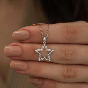 Gümüş Baget Taşlı Yıldız Kolye