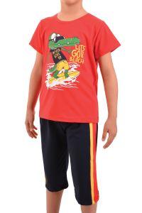 Nicoletta Erkek Çocuk Kapri Bermuda Pijama Takımı Kısa Kollu Pamuk