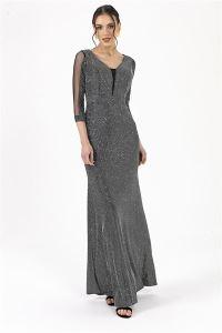 Simli Uzun Elbise Gümüş