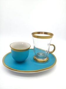Özcam Kristal 18 Parça Geniş Tabak Çay Takımı D-1220 Mavi