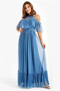 Düşük Kollu Volanlı Dantel Uzun Abiye Elbise Mavi