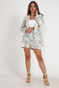 Wpr Yaprak Desen Ceket Şort Kadın İkili Takım