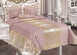 Evlen Home Tuğra Yatak Örtüsü 4 Parça Pudra/Gold