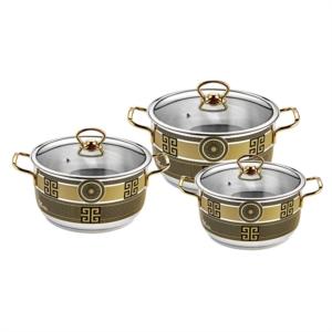 Özlife 6 Parça Elif Dekorlu Siyah Gold Set- 509