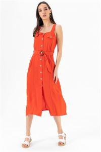 Askılı Düğmeli Krep Elbise Oranj