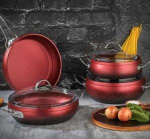 Polo Chef Nil Granit 7 Parça Kırmızı Güveç Tencere Seti NİS 107