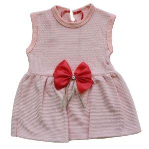Pudra Pitikareli Somon Kurdelalı Kız Bebek Elbise