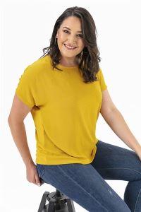 Taşlı Krep Likra Büyük Beden Bluz Sarı