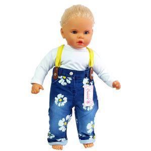 Papatya Desenli Askılı Bebek Kot Pantolon ( Badisiz )