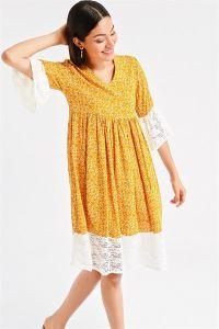 Çiçek Desen Dantel Detaylı Elbise Sarı