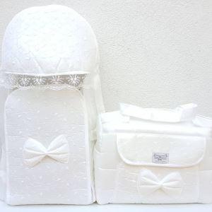 Dantelli Krem Lüks 2 li Bebek Taşıma Seti