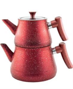Fatih Home Bakalit Kulplu Granit Piramit Çaydanlık Kırmızı