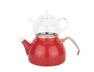 Tantitoni Cam Demlikli Kırmızı Emaye Çaydanlık Takımı- TONY 002ECTK