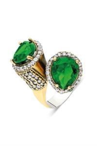 Midyat Otantik Yeşil Zirkon Taşlı Gümüş Yüzük
