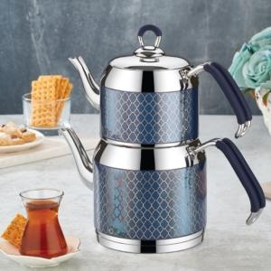 Özlife Hüma Dekorlu Aile Boy Mavi Çaydanlık- 111