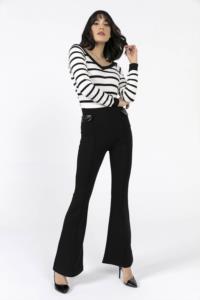 Saygı Beli Lastikli Deri Detaylı İspanyol Paça Pantolon
